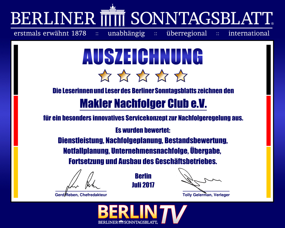 Makler Nachfolge Club eV_Auszeichnung